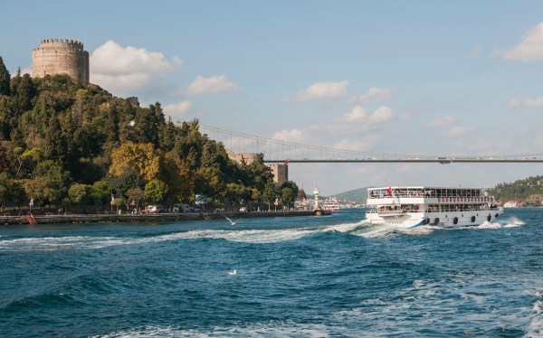 The waters of the Bosphorus run fast and deep at the narrowest point here.