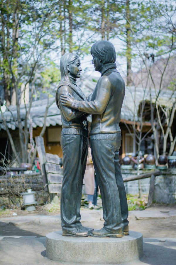 Statue of Winter Sonata - Korean actor and actress in Nami Island