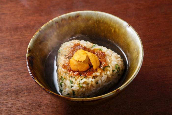 Yaki Onigiri with Sea Urchin and Oden Soup