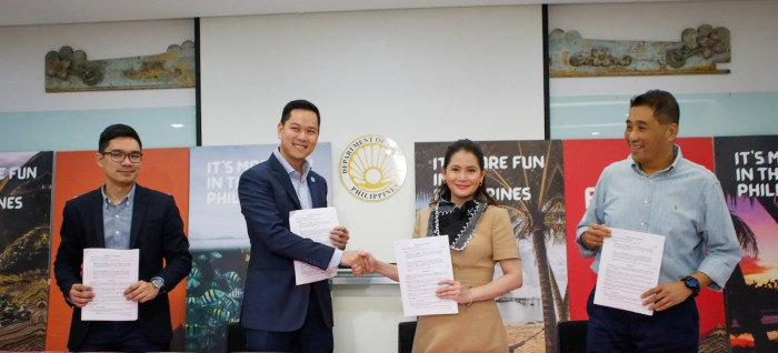 The Department of Tourism (DOT) and Guide to the Philippines (GTTP) formalize their partnership through the newly launched philippines.travel website, which allows users to book tours from DOT-accredited tour operators and tourism establishments. In photo during the official contract signing are (L-R): DOT Assistant Secretary Howard Lance A. Uyking, GTTP General Manager Rabbi Vincent Ang, DOT Secretary Bernadette Romulo-Puyat, and Tourism Council of the Philippines President Jojo Clemente.