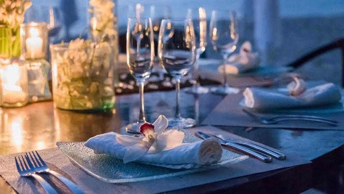 Custom beach dining arrangement