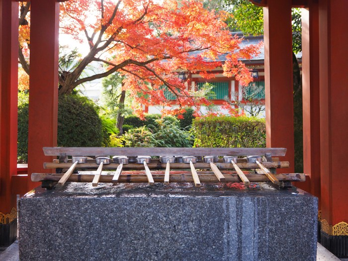 Holy water well in front of the Yutoku Inari Shrine with color change of autumn leave in Saga prefecture