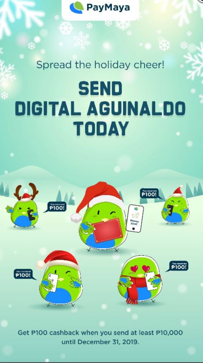 Send Digital Aguinaldo Today using PayMaya