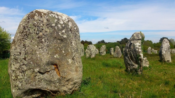 Carnac stones in Brittany in northwestern France