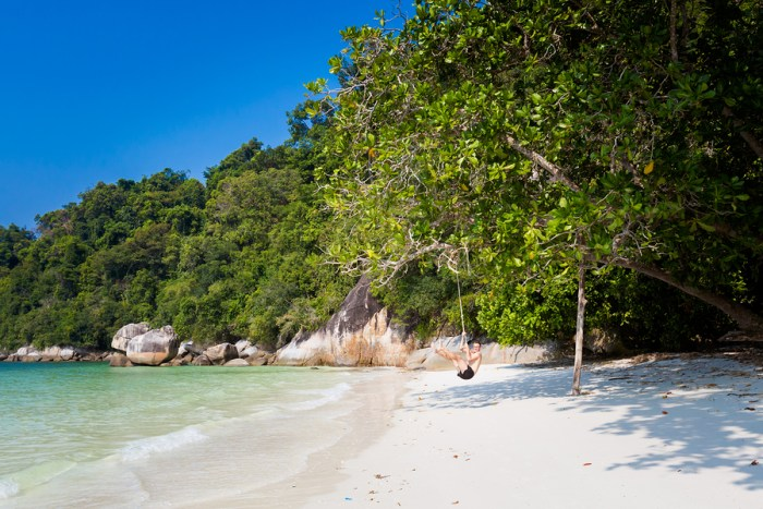 Tourist On Secret Beach Pangkor Island