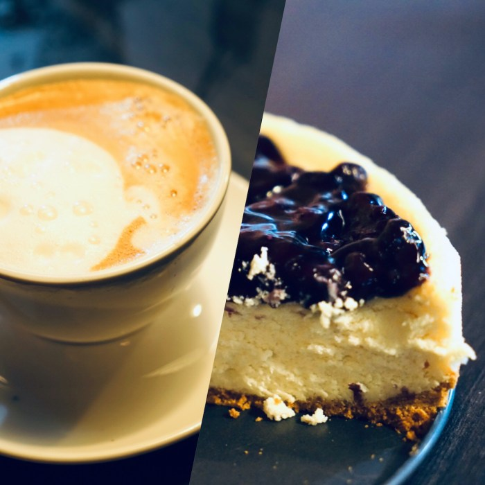 Coffee and Blueberry Cheesecake at Bash Cafe