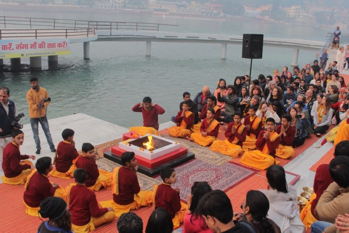 "Young ashram students leads the ""Ganga Aarti"" ceremony every dusk in Rishikesh"