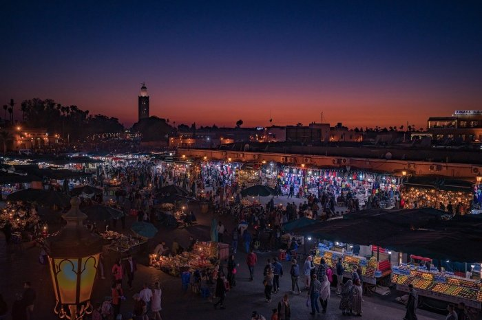 Djeman El Fna market square in Marrakech at night