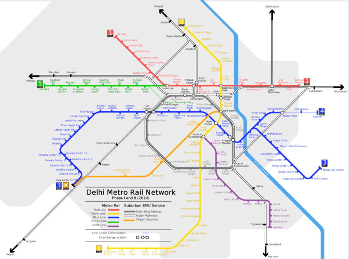 Map of New Delhi Metro Train System