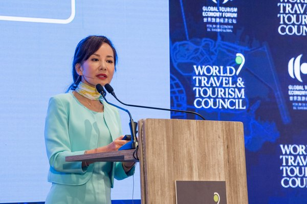 Jane Sun, WTTC Vice Chair and Trip.com Group CEO (pictured) speaks at WTTC event.