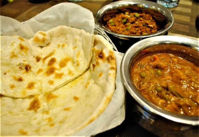 Naan w mutton kheema and Vege w ground gravy sauce