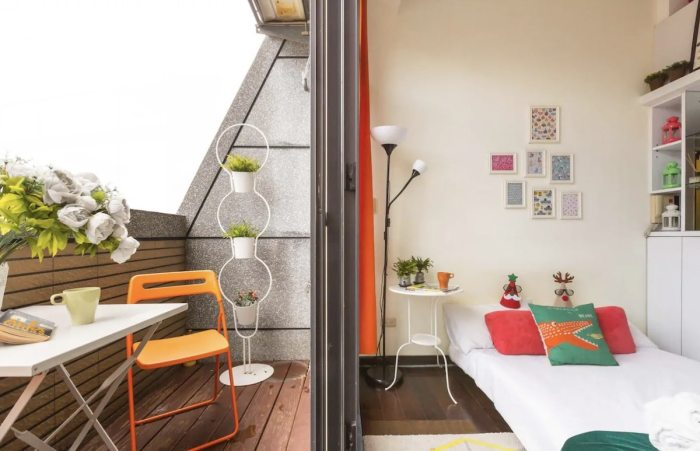 Loft type Airbnb in Taipei with Balcony