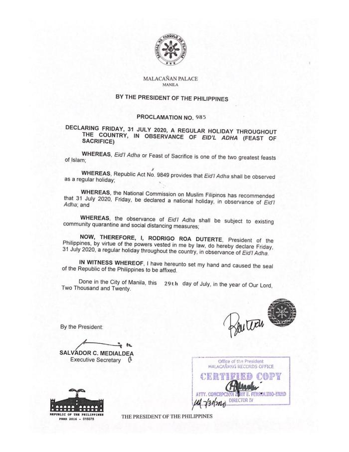Palace declares July 31 a regular holiday for Eid'l Adha