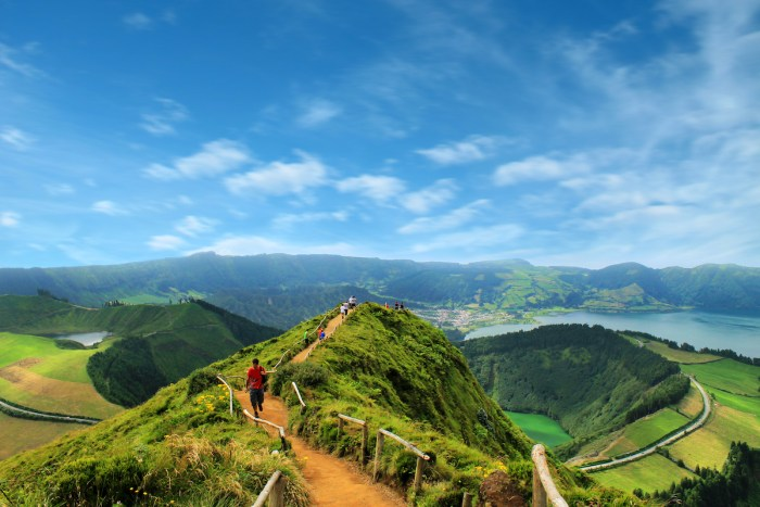 Walking path leading to a view on the lakes of Sete Cidades, Azores, Portugal photo via DepositPhotos.com