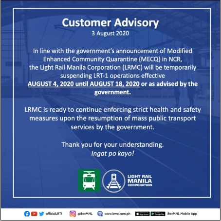 LRMC releases official statement on LRT-1 operations during MECQ