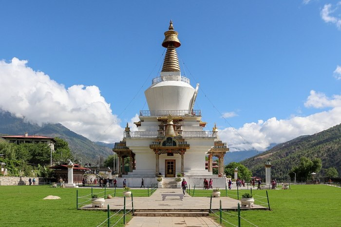 The Memorial Stupa, Thimphu, also known as the Thimphu Chorten by Bernard Gagnon via Wikipedia CC