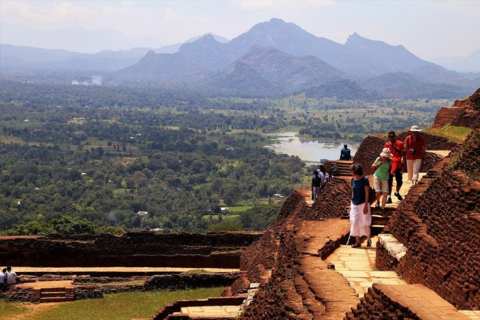 Tourists Sigiriya Fortress in Sri Lanka