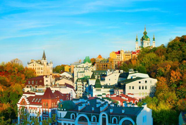 Autumn colors of Andriyivskyy Descent photos via Depositphotos