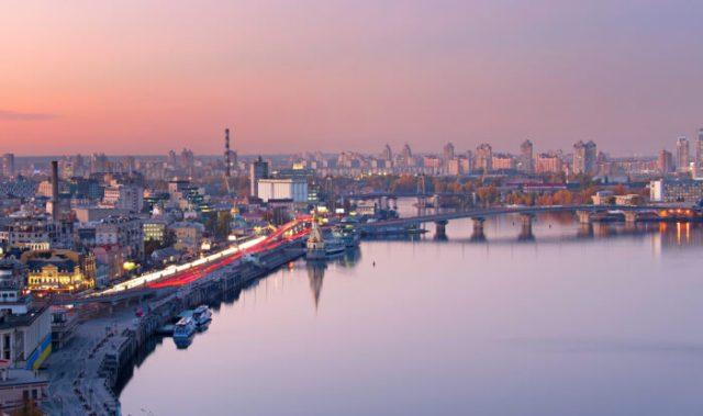 Kiev aerial cityscape, Ukraine photo via Depositphotos