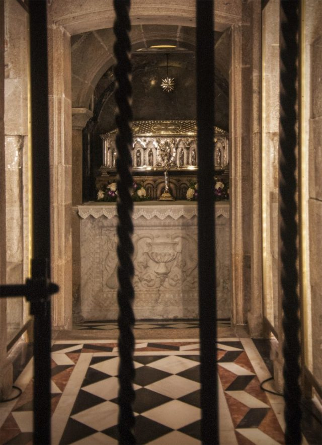 The crypt below the altar where the Saint's remains are buried.