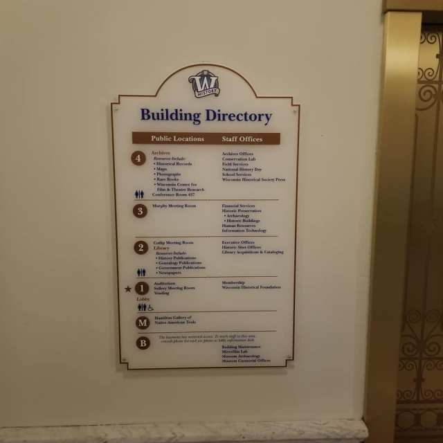 Wisconsin State Historical Society Building Directory