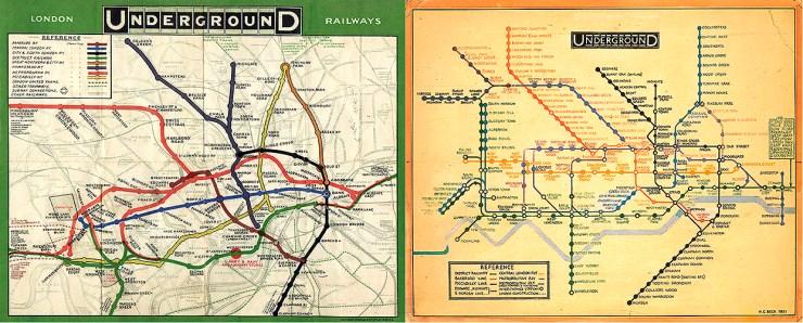Mapa do metrô de 1909 (esquerda) e a versão de Harry Beck, de 1931