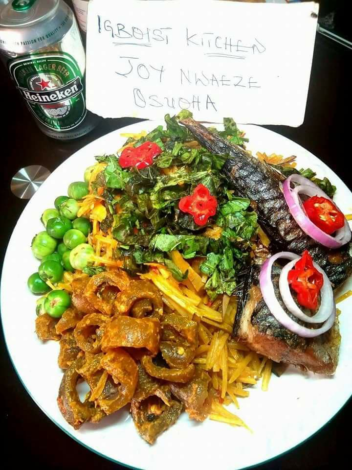 """Igboist Kitchen contest Winners with their dishes """"Abacha"""""""