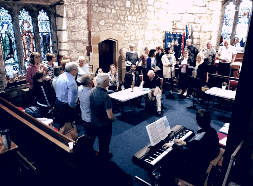 Rehearsal with the community chorus at Brindle St James Church.