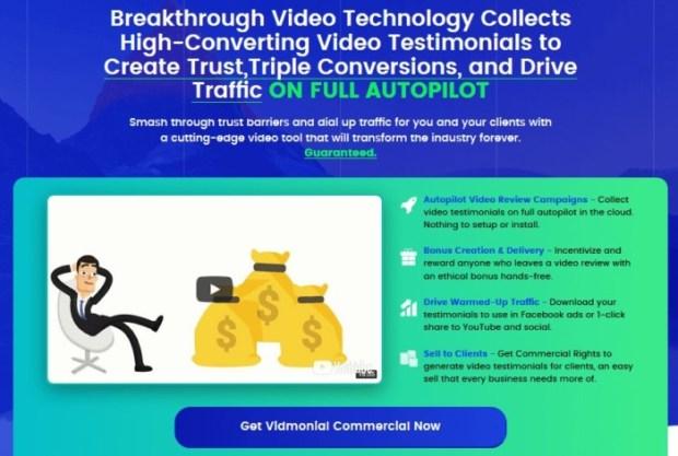 Vidmonial Video Testimonial Software by Ben | JVZOO RESEARCH