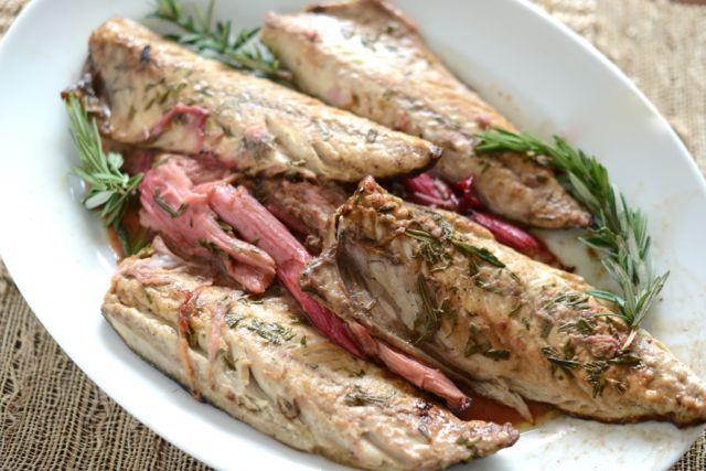 Mackerel and Rhubarb on Platter