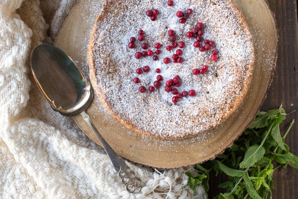 Nordic-Inspired Gluten-Free Cake Recipe with Almond, Cardamom, and Lingonberries from Norwegian-American Food Writer Daytona Strong