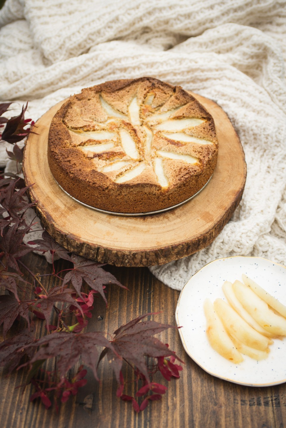 Nordic almond cake with brown butter and pears