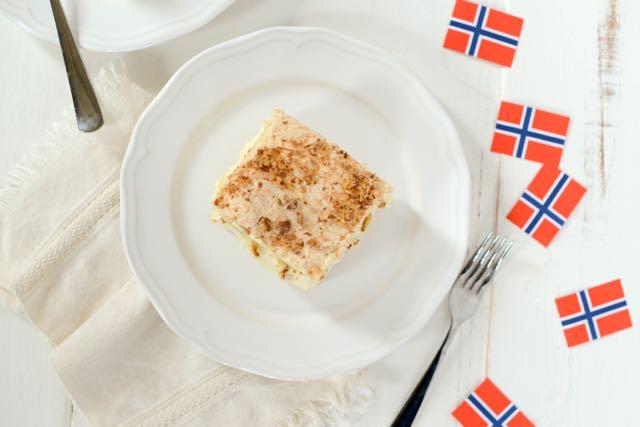 Kvæfjordkake, also known as World's Best Cake