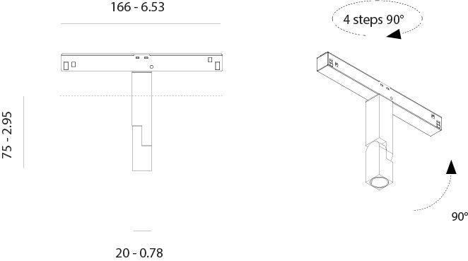 foco led orientable de carril magnético