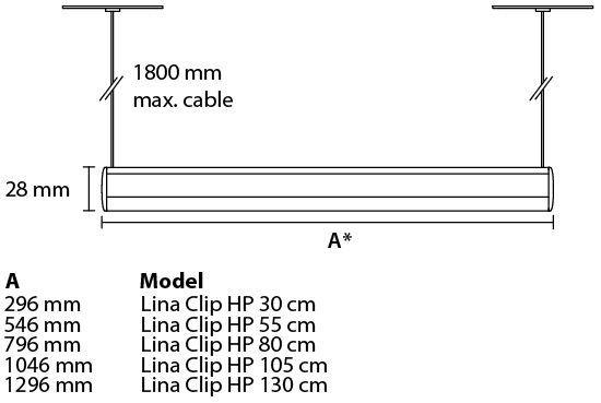 Lámpara de suspensión LINA HP Pendant medidas
