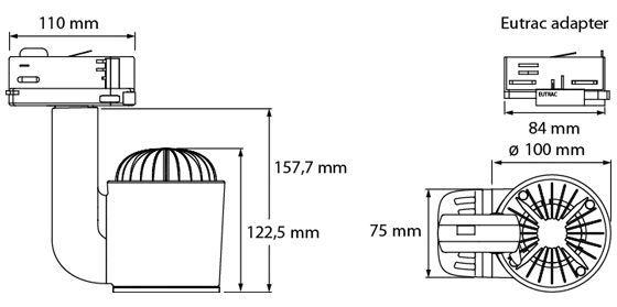 Medidas proyector de carril RGBW