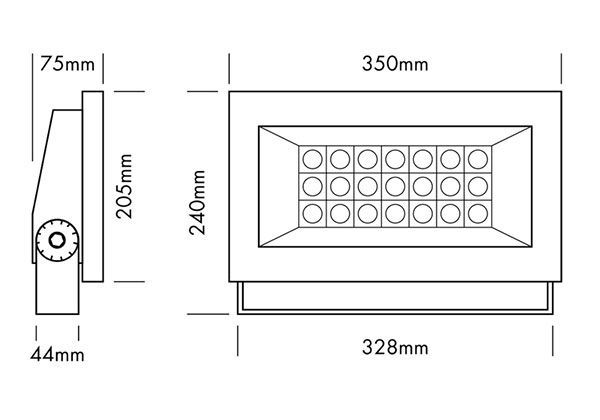 Medidas proyector led exterior arquitectónico
