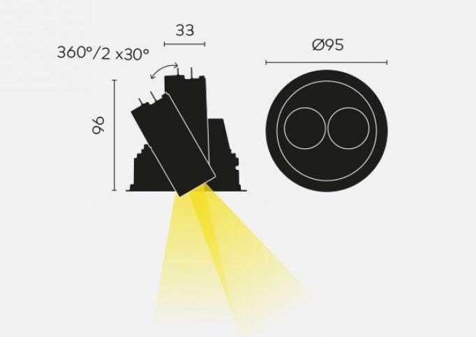spot led doble orientable