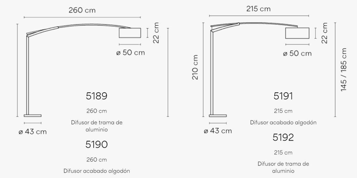 Medidas lámpara de pie de gran formato