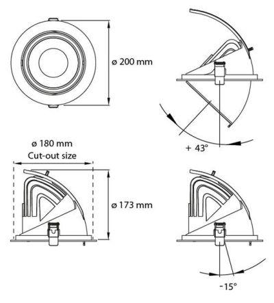medidas downlight led orientable y basculante