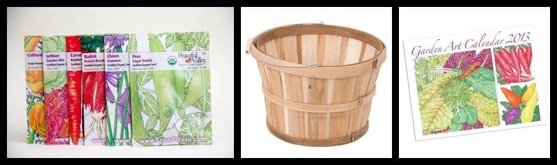 Groworganic.com seed packets, Garden Art and Half Bushel giveaway