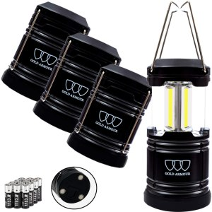 Gold Armour 4 Pack Portable LED Camping Lantern Flashlight