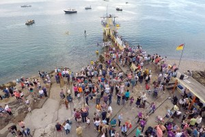 Swimmers turn out in their droves to take on the 13km swim across Galway Bay, for the annual Frances Thornton Memorial Galway Bay Swim.