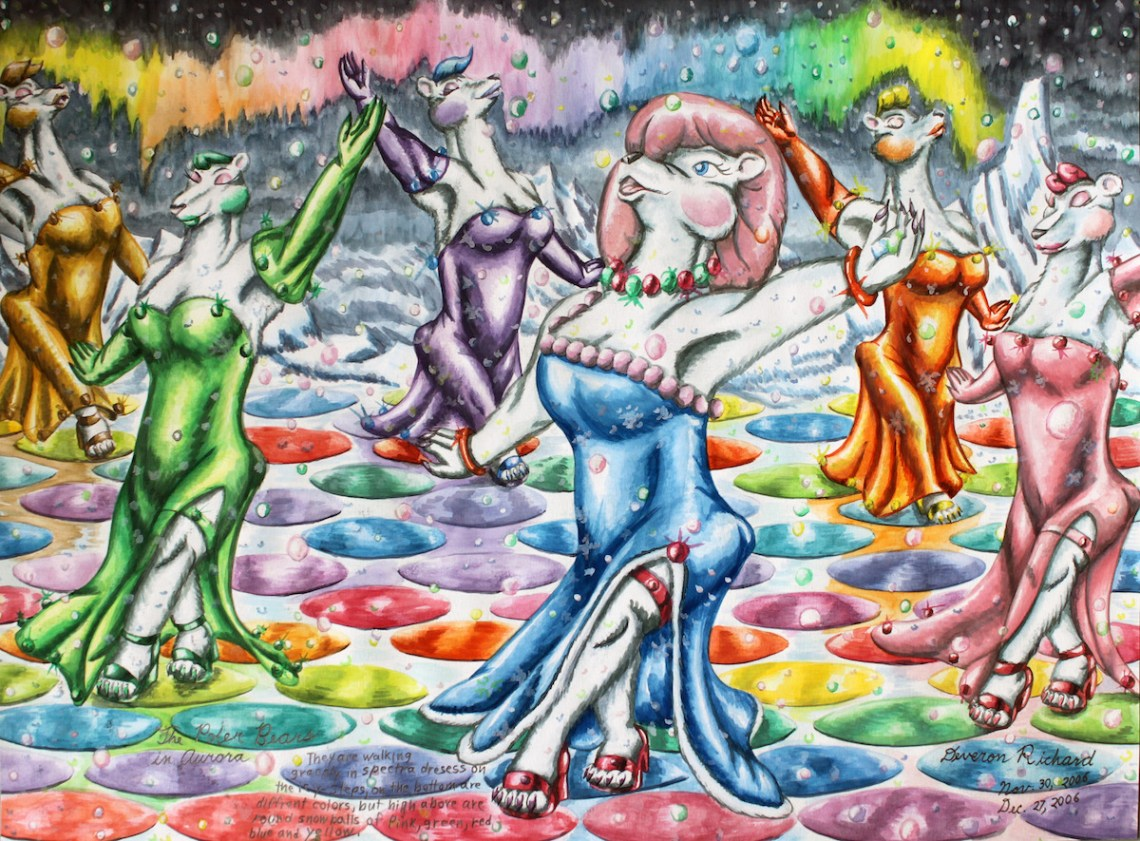 The Polar Bears in Aurora Medium watercolor on paper Size 22in X 16.25in
