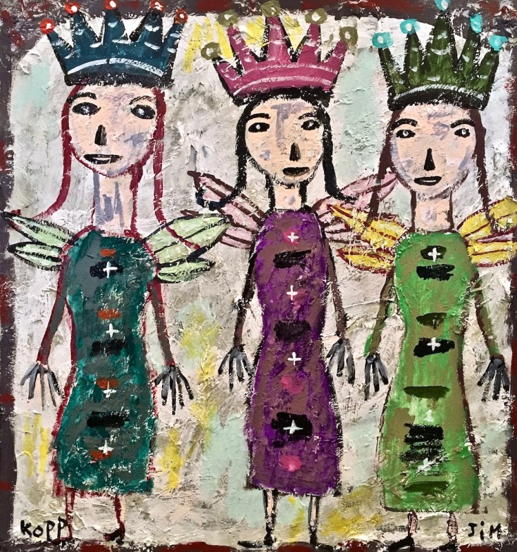 Three Figures with Wings Medium Housepaint on wood assemblage Size 22.5 x 24 inches