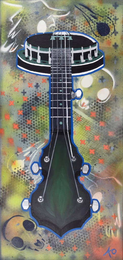 Banjo Medium Oil on Wood Size 18 in X 28 in