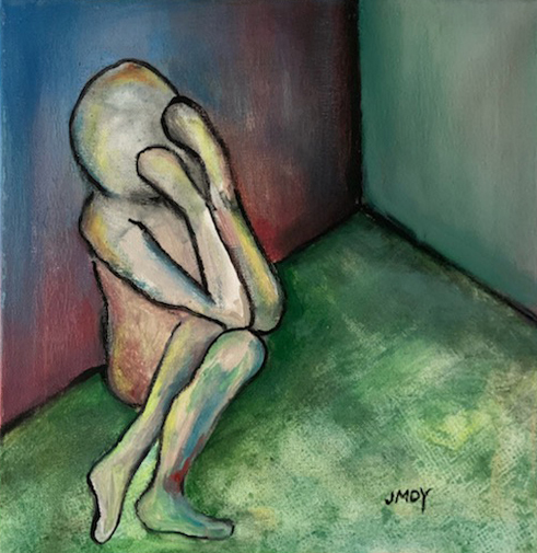 "Lost in a Room Medium Acrylic on Canvas Size 12"" x 12"""