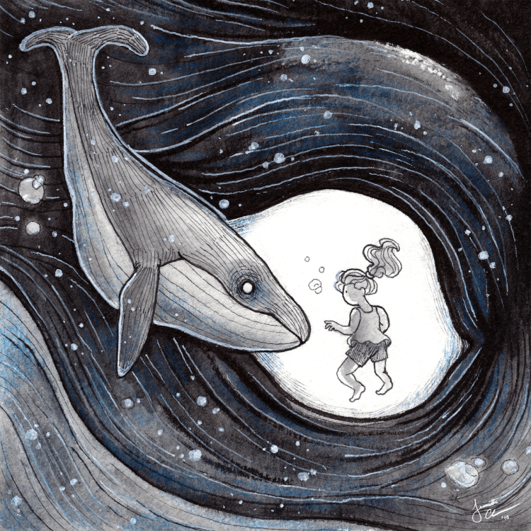Whale Medium Ink, Watercolor, Colored Pencil Size 5 x 5 inches