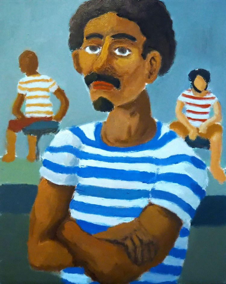 """Man in a Striped Shirt"" 