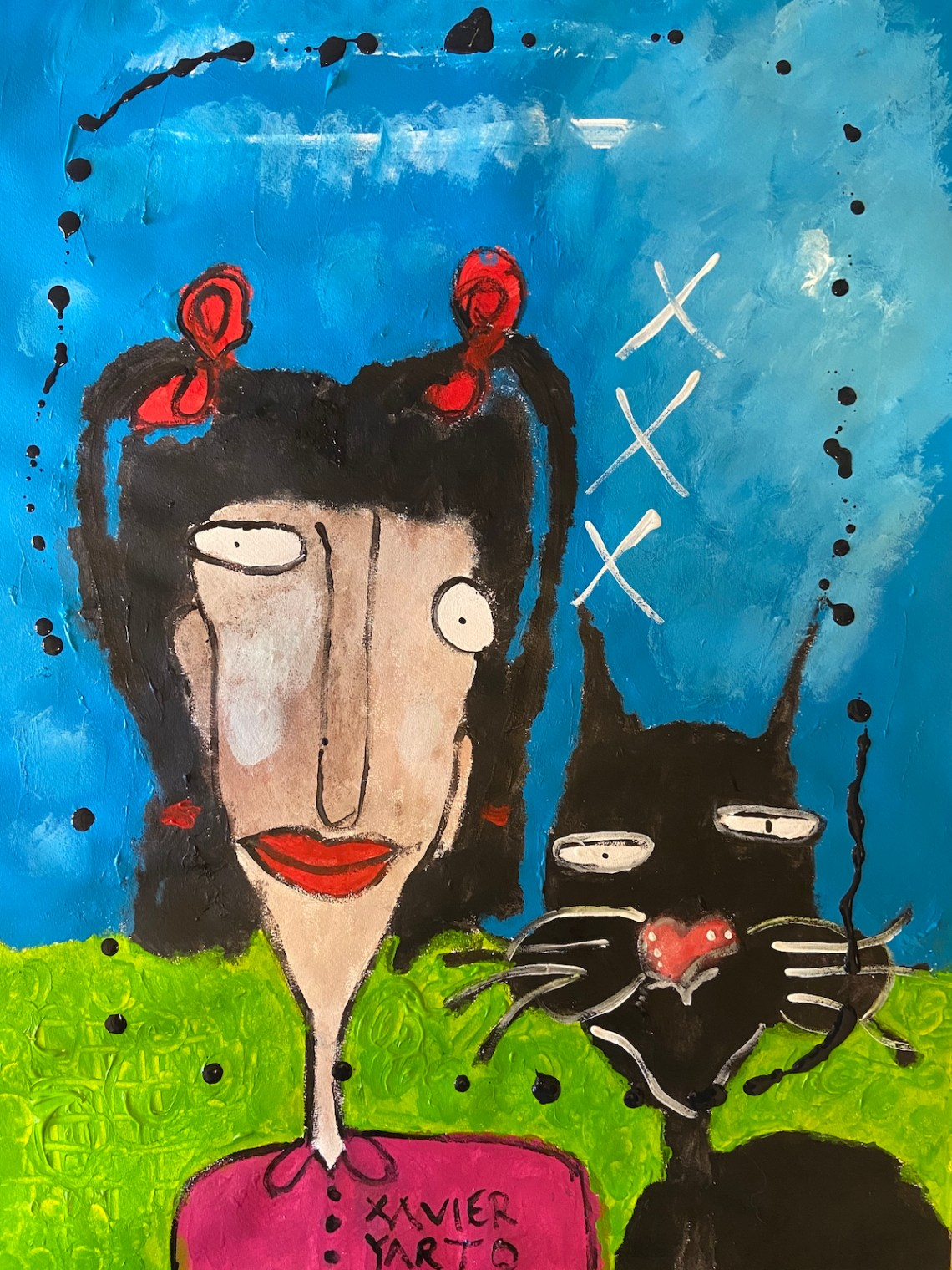 The pretty girl with the pigtails and the cat named Keku | Acrylic on paper | 50 x 70 cm